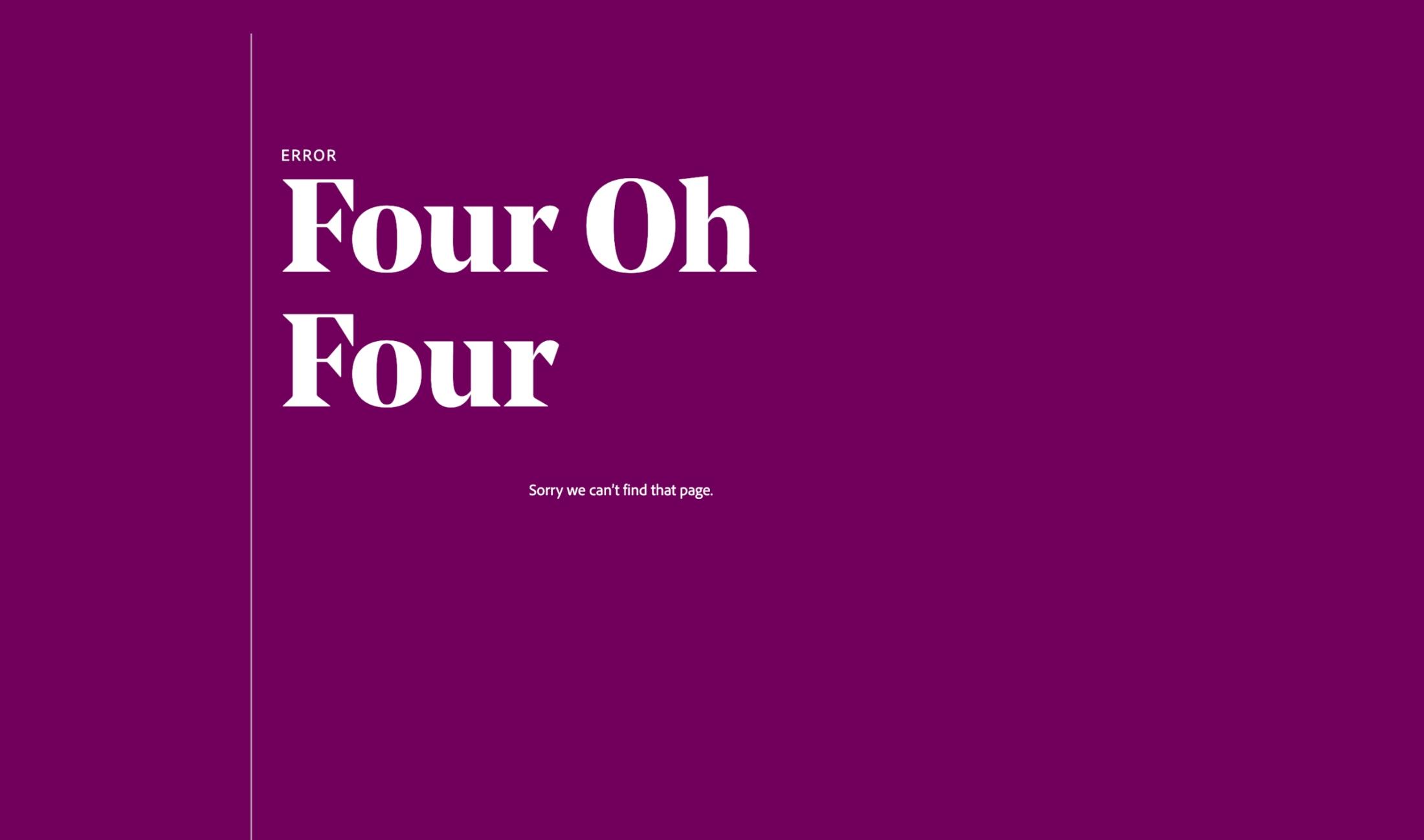 Adobe XD 404 Page