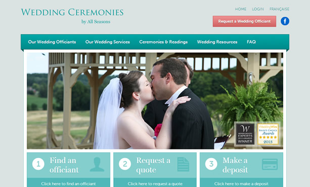 All Seasons Wedding Ceremonies website design