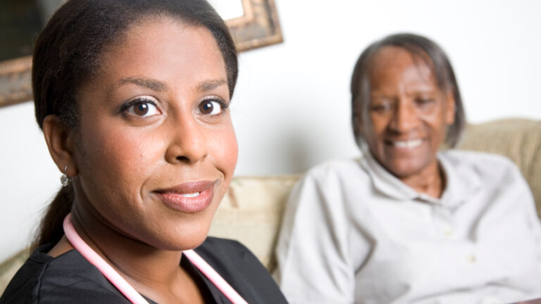 health care worker with client