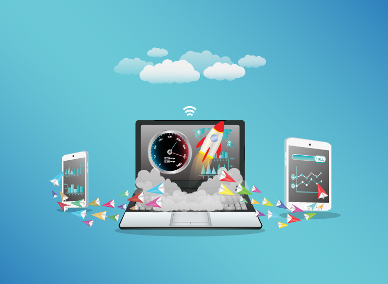 Online devices with illustrations of speed and connections
