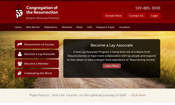 Congregation of the Resurrection Website Design
