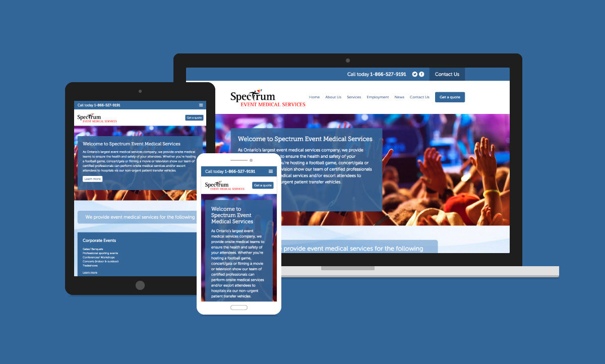 Spectrum Event Medical Services Website Design