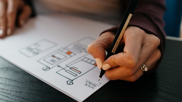 Designer planning website design
