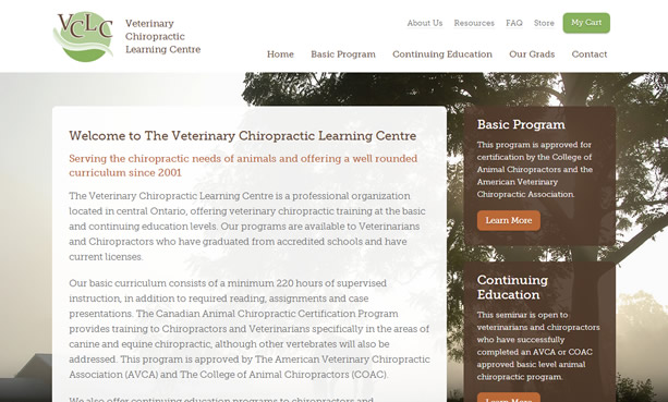 Veterinary Chiropractic Learning Centre Website Design