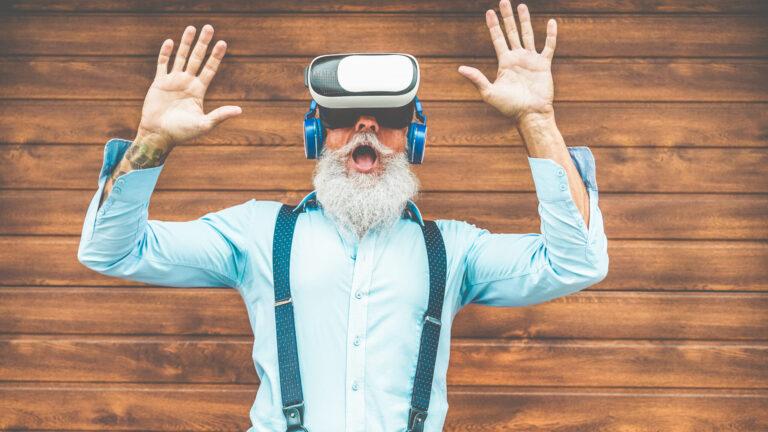Bearded man using VR