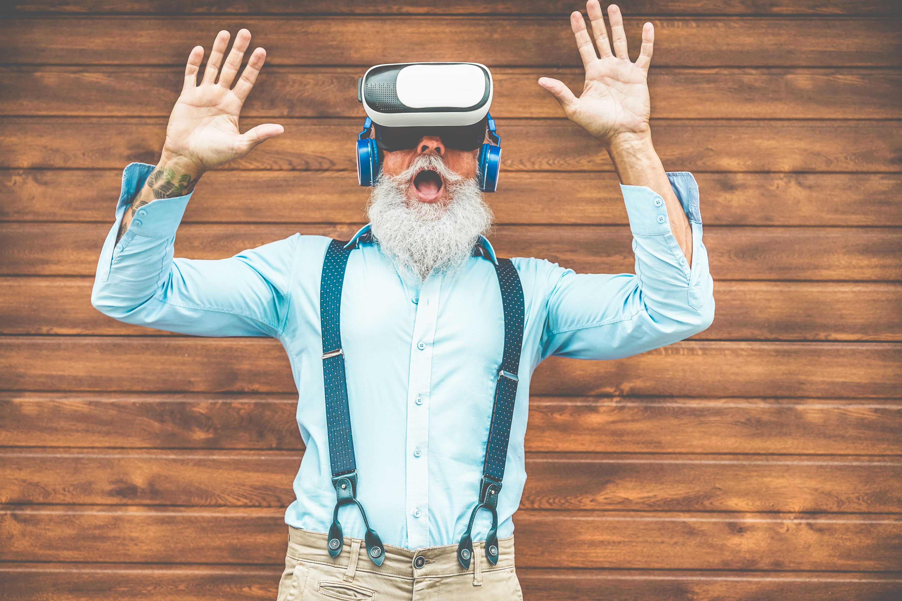 Bearded man using VR