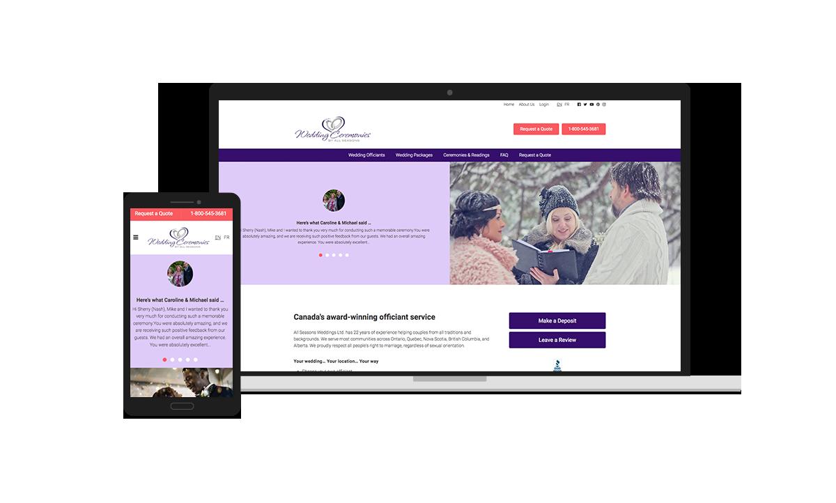 All Seasons Weddings Website Design